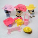 Littlest Pet Shop # 338, 1114 & 1142 3 Horses & Race About Ranch Accessories