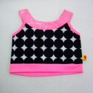 Build A Bear Top BLACK CIRCLES on White with PINK SEQUINS & Trim