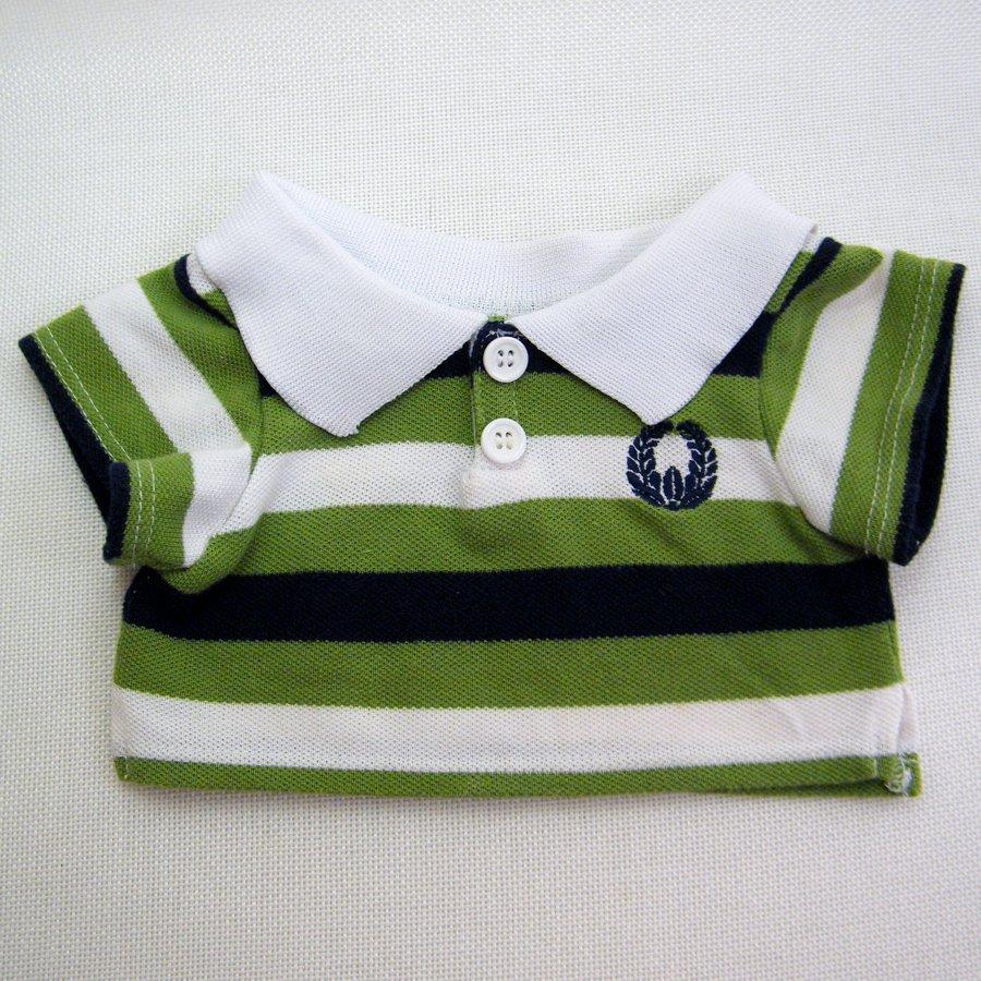 Build A Bear Striped GOLF SHIRT Green White Black Knit