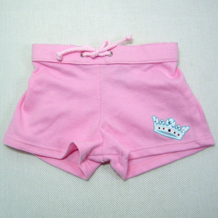 "Build A Bear Pink SHORTS with Royal Crown and ""Cheer"" Glitter on Reverse"