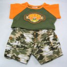Build A Bear BEAR SQUAD Short Sleeve Shirt and Military Pants Matched Set