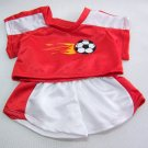 Build A Bear FLAMING SOCCER Football Outfit Red & White Flames 2 Pc Clothes