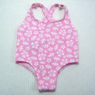 Build A Bear Pink & White SWIMSUIT One Piece Glitter Flowers Floral