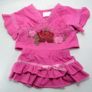 Build A Bear WESTERN COWGIRL Pink Rose Fluted Top and Matching Skirt
