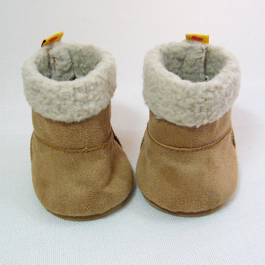 """Build A Bear SHEEPSKIN BOOTS Tan """"Suede"""" with Woolly Outside Trim"""
