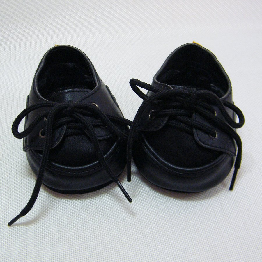 Build A Bear BLACK DRESS SHOES with Laces (Ties) Embossed Foam Soles BABW