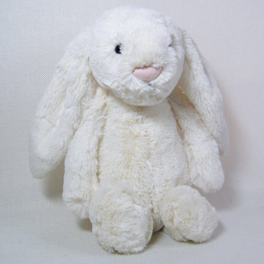 "Jellycat White BASHFUL BUNNY Medium Stuffed Rabbit 12"""