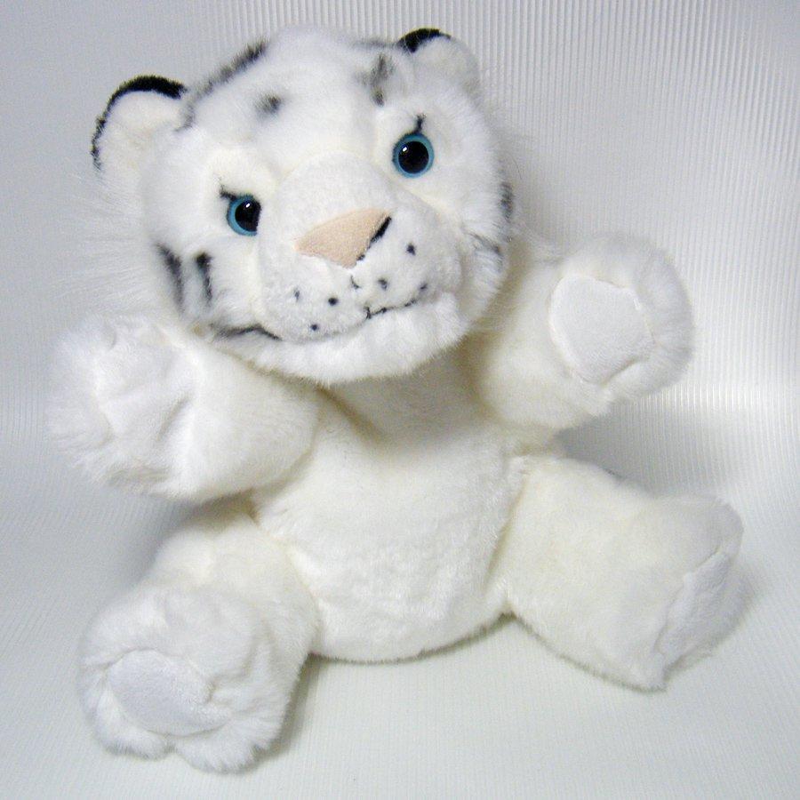 "White TIGER CUB 10"" Plush Body Puppet with Blue Eyes Wild Republic # 89661"