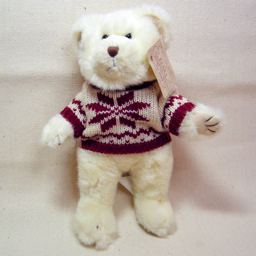 "Russ Bears From the Past POINSETTIA Plush Ivory White Articulated Bear 8"" # 259"