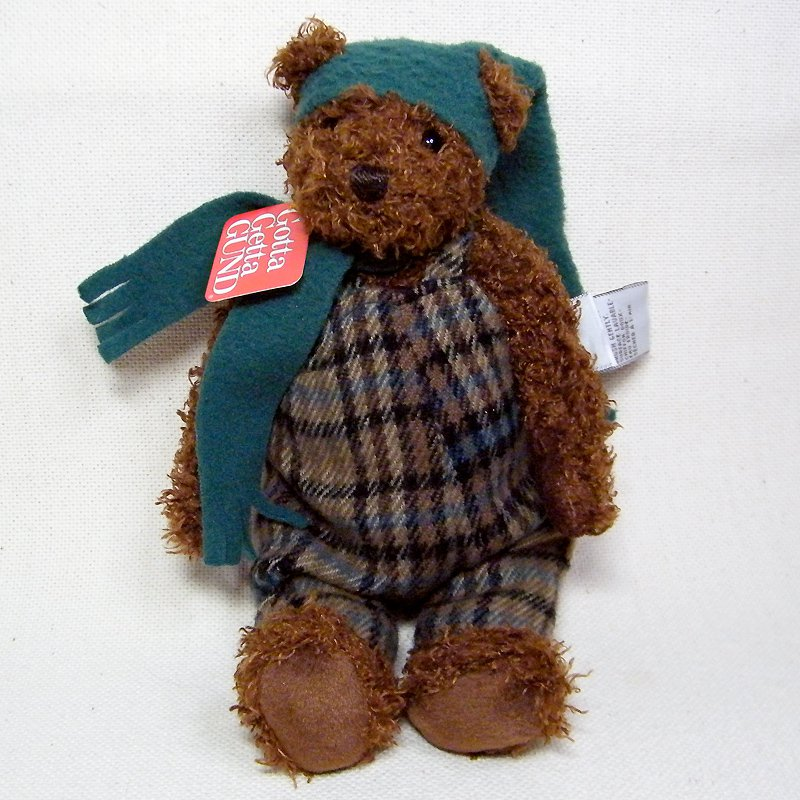 Gund FANCY PANTS Bear Dressed in Winter Coverall and Fleese Hat & Scarf NWT #8741
