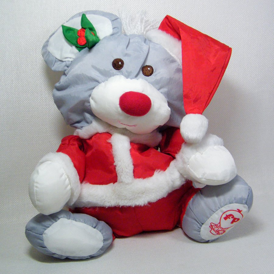 Fisher Price Puffalumps Gray CHRISTMAS SANTA MOUSE 1988 8029
