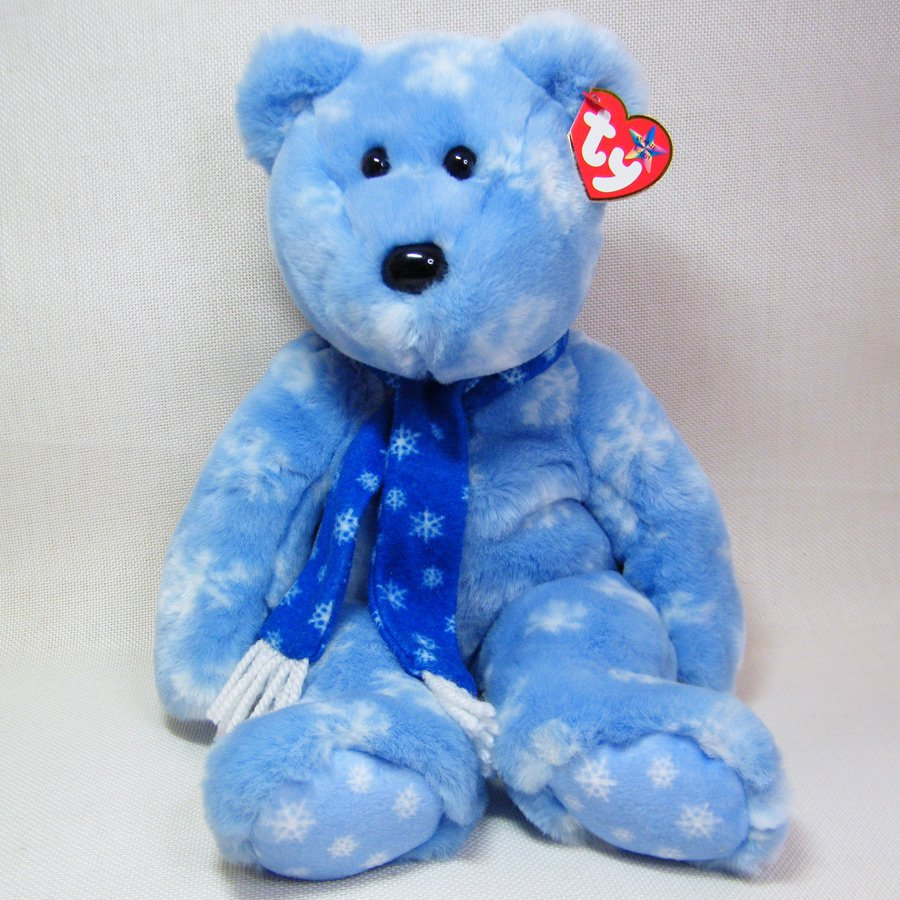 Ty Beanie Buddy 2002 (1999) Holiday Teddy Plush Blue Snowflake Decor Toy Bear