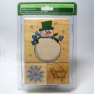 Christmas SNOWMAN Snowflake Wood Mount Holiday Stamp Set