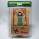 Christmas ANGEL Candy Cane Wood Mount Holiday Stamp Set