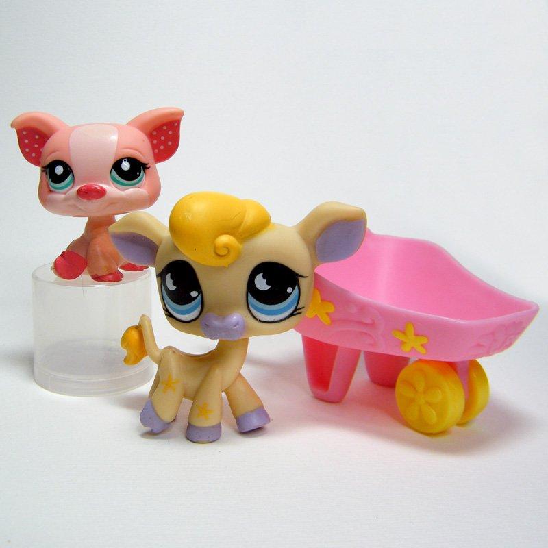 Littlest Pet Shop # 927 COW Blue Moon Eyes # 1544 PIG, On the Go Pets