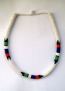African beaded necklace � Zulu colour block South African necklace
