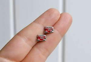 London bus earrings - handmade enamel kawaii double decker bus Routemaster studs