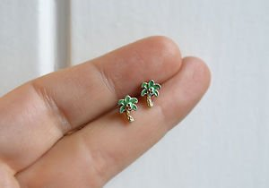 Palm tree / coconut tree earrings - handmade tiny enamel studs/posts