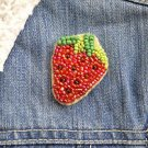 Strawberry brooch - handmade beaded strawberry summer fruit kawaii trendy brooch