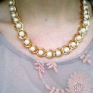 Golden pearl and chain necklace - vintage golden tone thick chain and pearl
