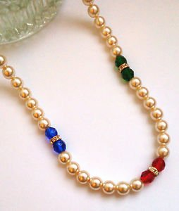Pearl and glass beads necklace - vintage necklace with coloured beads
