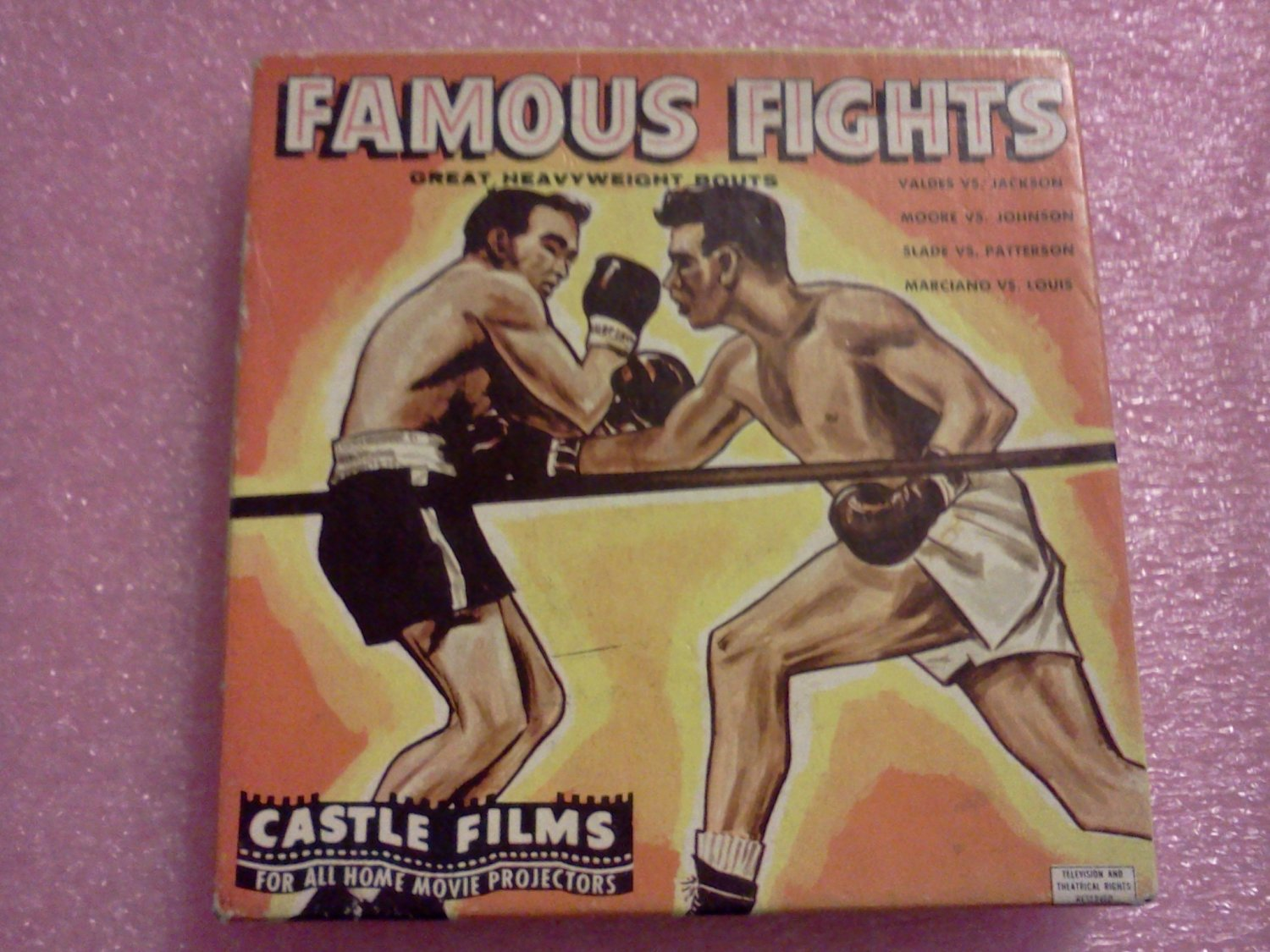 Famous Fights 8mm Castle Films Reel Vintage Heavyweight Boxing Marciano Vs Louis