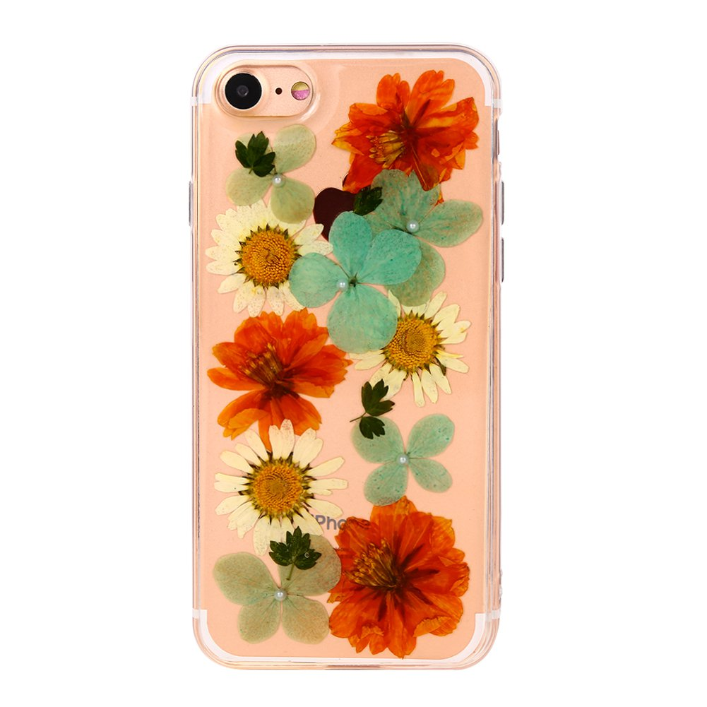 Clear Real Dried Flower Soft TPU Gel Case Cover for New iPhone7