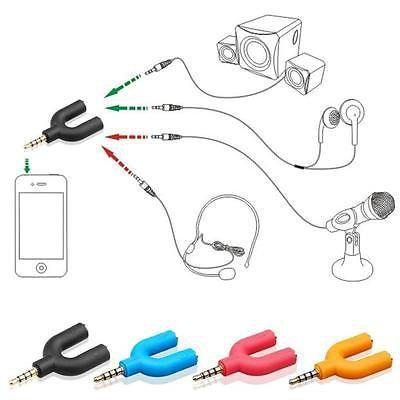 2 Pack Dual Headset SYNC Adapter Kit U Shape 3.5mm Y Splitter for Audio Headphone+MIC