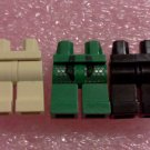 Lego Legs 3pcs Lot Black, Tan, Green
