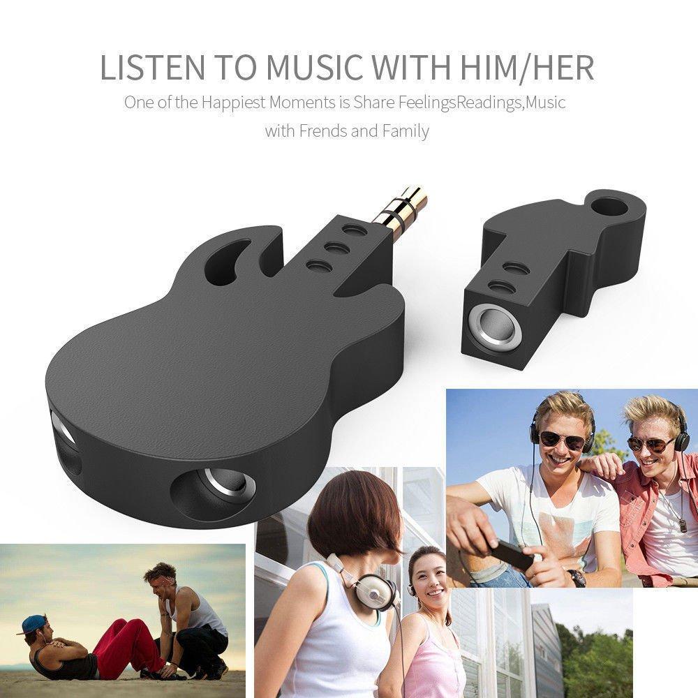 Black Guitar Shaped Adapter Y Splitter 3.5mm Stereo Audio Headset Splitter Connector