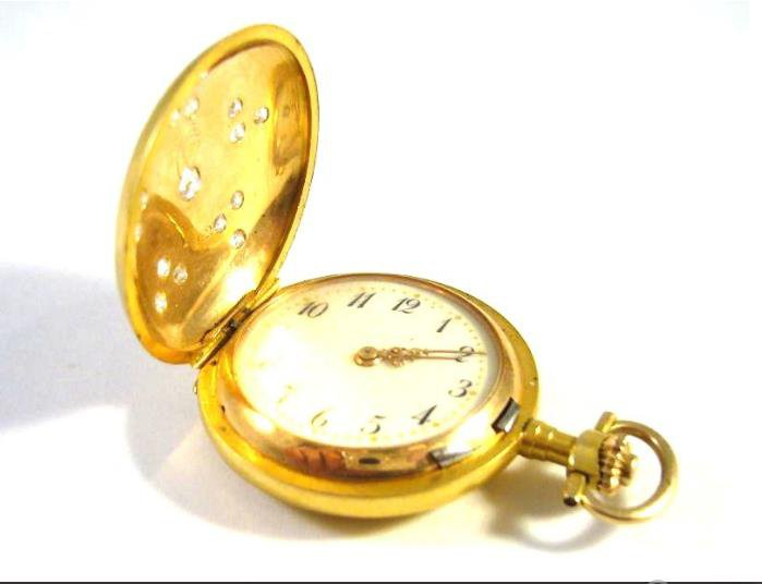 Antique gold pocket watch with diamonds 0.60 kt
