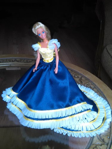 Barbie Doll Handmade Fashion Yellow and Blue Wedding Party Gown Clothes Outfits Dress