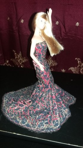 Barbie Red Bella Mermaid Party Princess Bridal Clothes Handmade Dress Grows Outfit