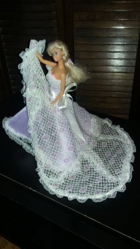 Barbie Doll Fashion Handmade Lilac Wedding Party Bridal Gown Dress Clothes Gift Girls Play