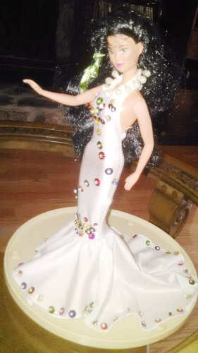 Barbie Doll Flowers Yellow Mermaid Handmade Royalty Princess Party Bridal Gown Dress Girls