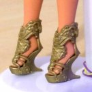Gold High Heels Rock My World Shoes For Vintage Doll delicias2shop