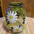 Hand painted dogwood flowers green glass vase delicias2shop