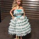 Barbie Doll Blue & White Party Dress Delicias2shop