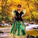 Barbie Doll Green Black Imperial Dress  xpress2shop