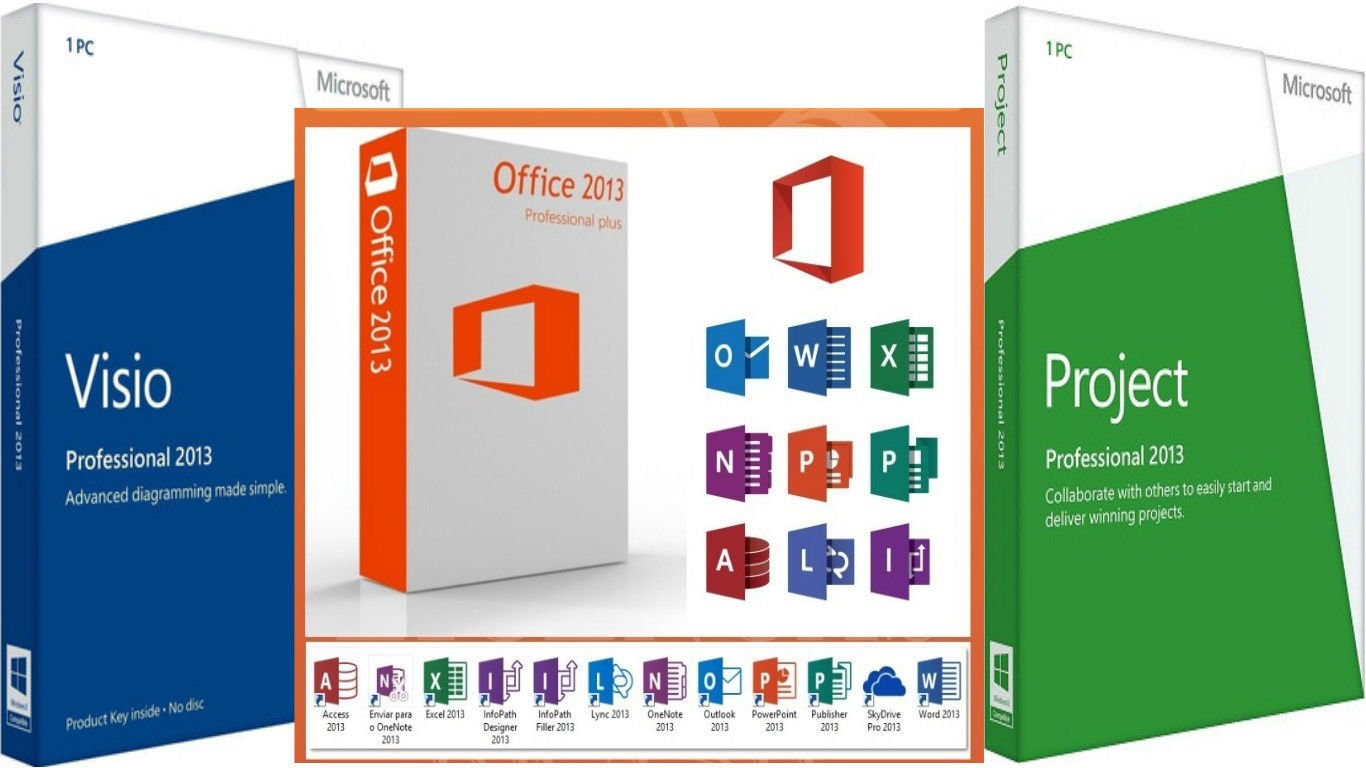 Microsoft office professional 2013, project pro 2013, visio pro 2013 | All in one