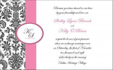 Personalized Damask Wedding Invitations & RSVP - Elegant Wedding Invitations