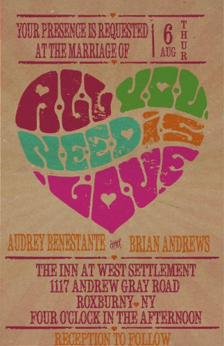 """Retro Poster """"All you need is love""""  Wedding Invitation & RSVP"""