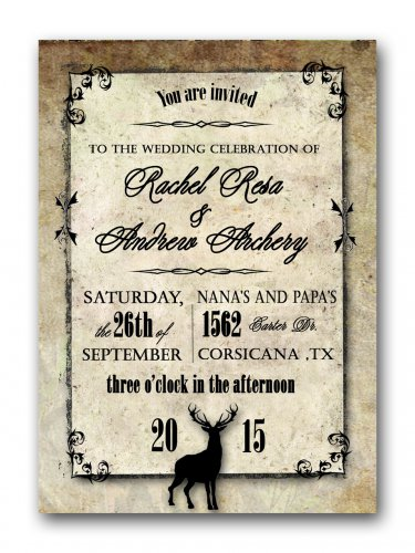 Hunting Buck Camo Wedding Invitation & RSVP