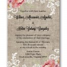 Burlap and Lace Floral Wedding Invitation & RSVP