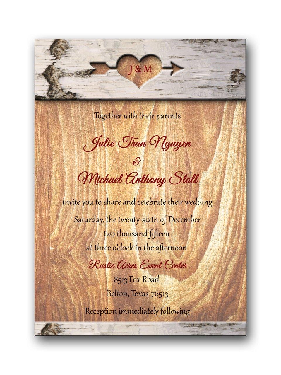 Carved in wood Wedding Invitation & RSVP
