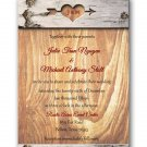 Carved in wood Wedding Invitation & RSVP