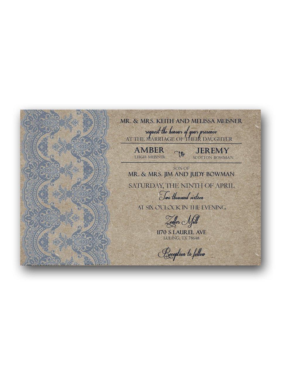 Dusty Blue and Tan  Wedding Invitation & RSVP
