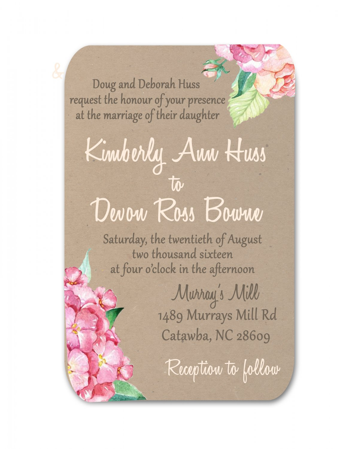 Floral kraft wedding invitation rsvp for Wedding invitations 50 cents each