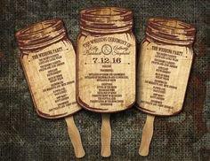 Rustic Mason Jar Country Wedding Fan Programs/ Wedding Program fans Programs/ Wedding fans