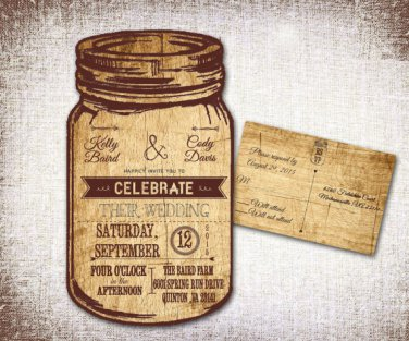 Country Rustic Mason Jar Wedding Invitations & RSVP/ Country wedding/Rustic Wedding/Mason Jar